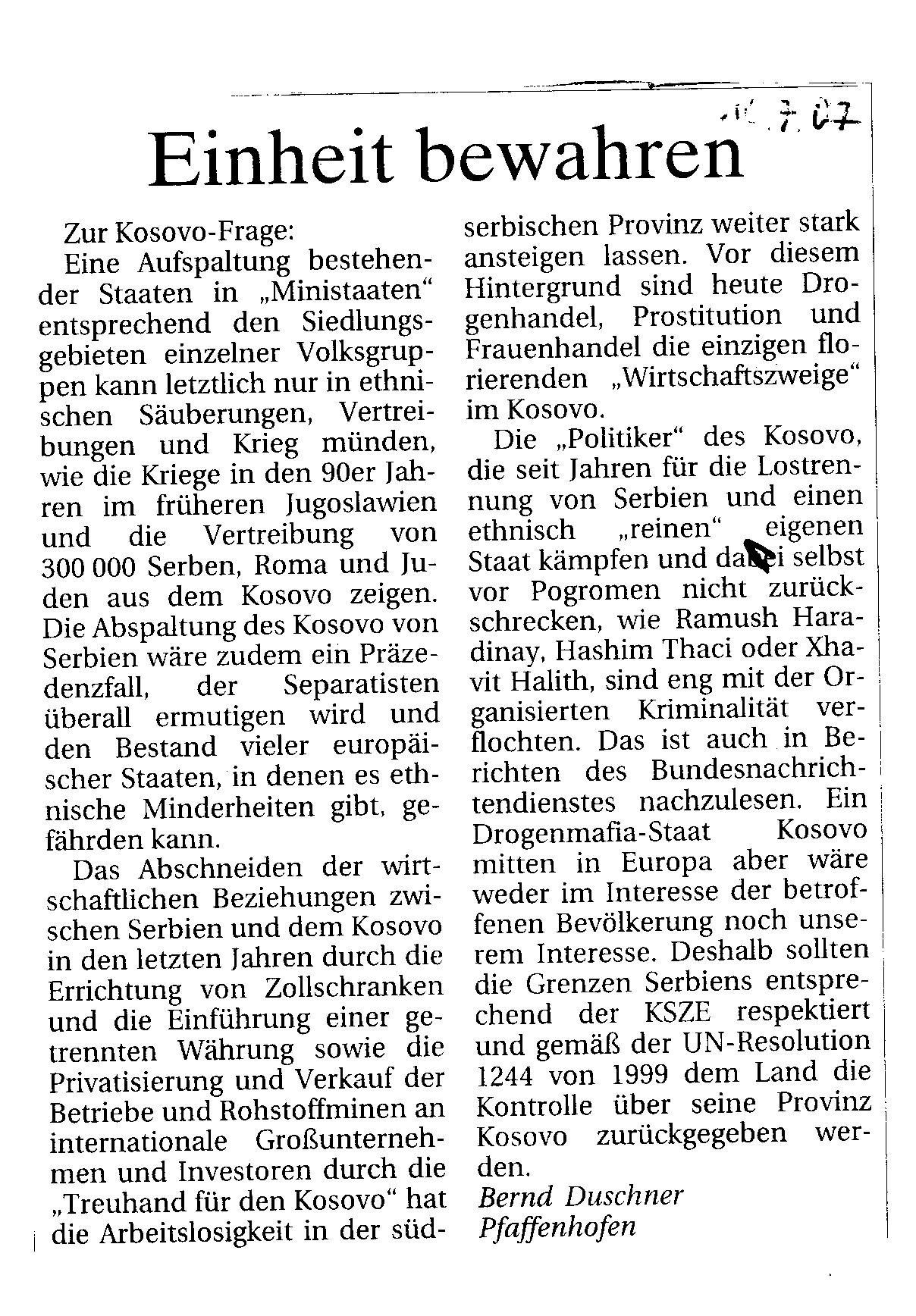 Bernd Duschner, Leserbrief Donaukurier vom 16.07.2007
