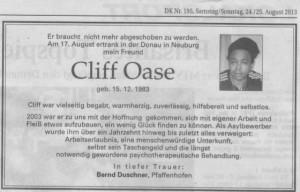Todesanzeige Cliff Oase